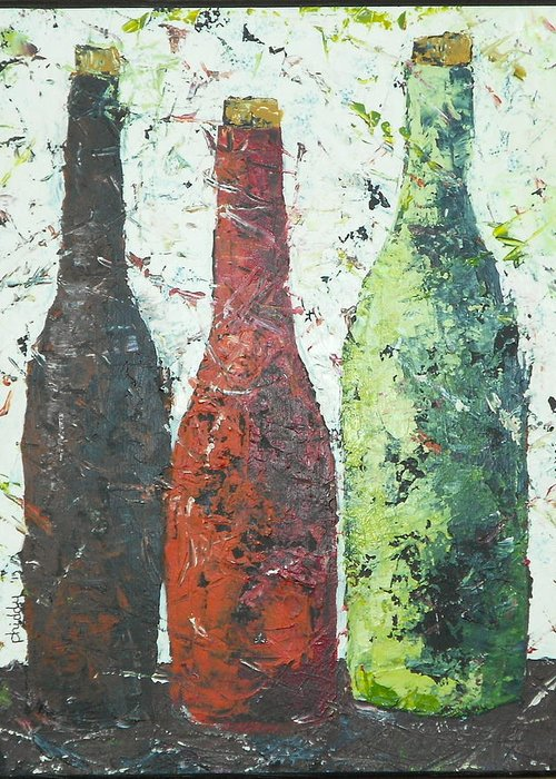 Wine Bottles Greeting Card featuring the painting Vino 2 by Phiddy Webb