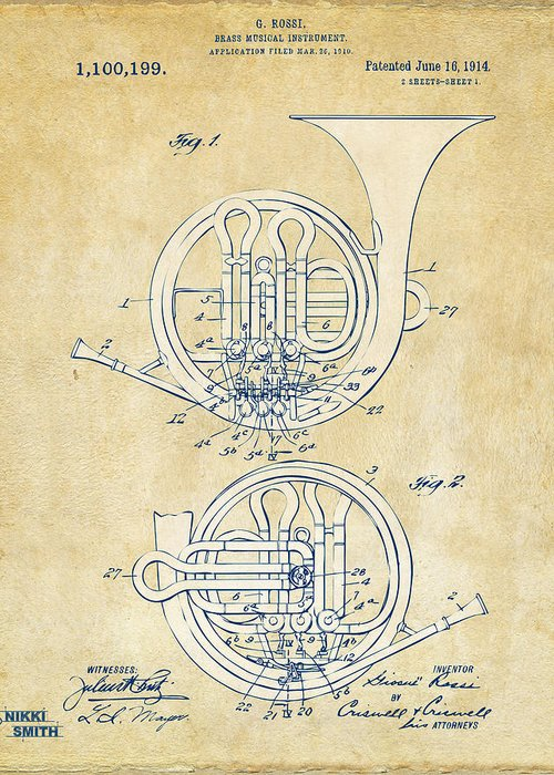 French Horn Greeting Card featuring the drawing Vintage 1914 French Horn Patent Artwork by Nikki Marie Smith