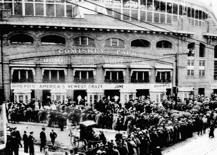 Vintage Greeting Card featuring the photograph Vintage Comiskey Park - Historical Chicago White Sox Black White Picture by Horsch Gallery