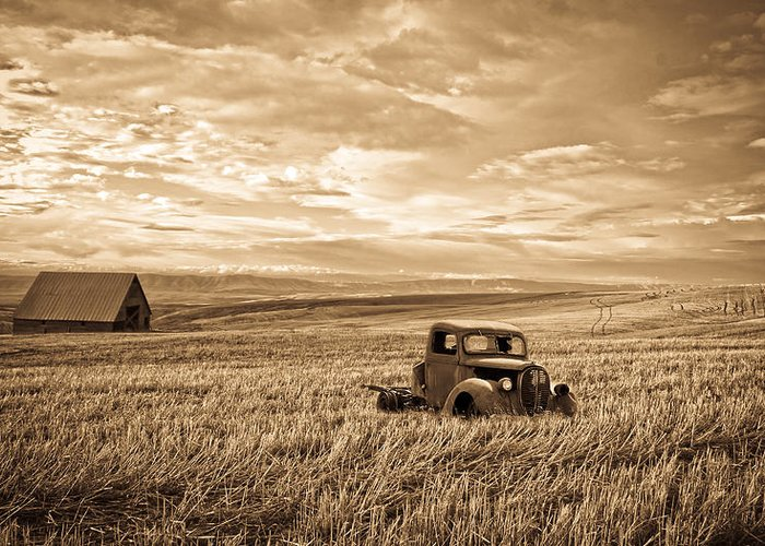 Hot Rod Greeting Card featuring the photograph Vintage Days Gone By by Steve McKinzie