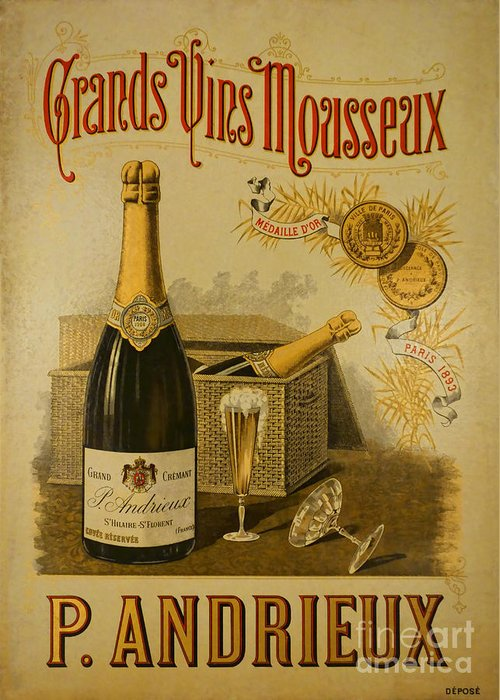 French Greeting Card featuring the photograph Vintage French Poster Andrieux Wine by Olivier Le Queinec