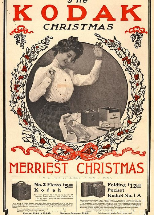 Christmas Greeting Card featuring the photograph Vintage Kodak Christmas Card by Edward Fielding