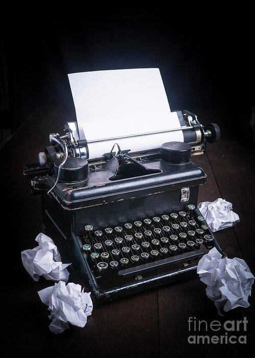 Typewriter Greeting Card featuring the photograph Vintage Manual Typewriter by Edward Fielding