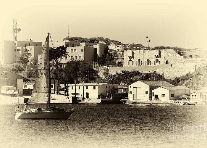 Vintage Marseille Sailing Greeting Card featuring the photograph Vintage Marseille Sailing by John Rizzuto