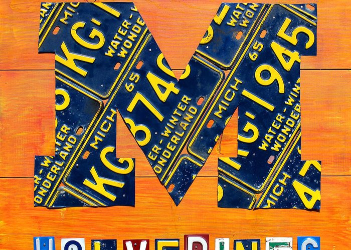 Michigan Greeting Card featuring the mixed media Vintage Michigan License Plate Art by Design Turnpike