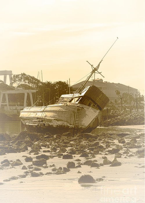Shipwreck Greeting Card featuring the photograph Vintage Shipwreck by Artist and Photographer Laura Wrede
