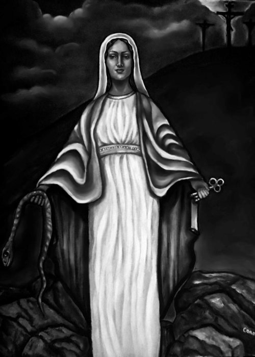 Virgen Mary Greeting Card featuring the painting Virgen Mary In Black And White by Carmen Cordova