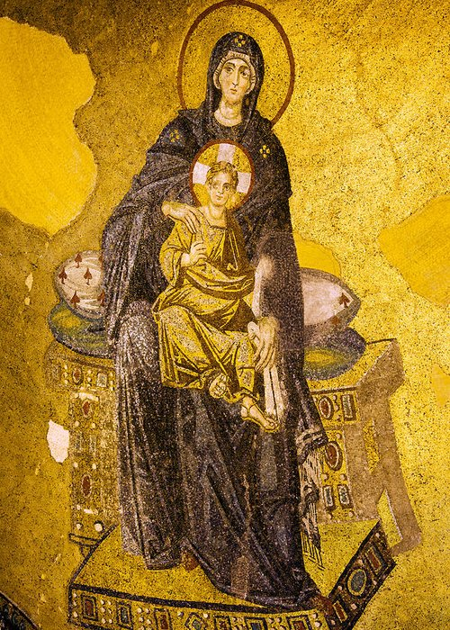 Art Greeting Card featuring the photograph Virgin Mary With Baby Jesus Mosaic by Artur Bogacki