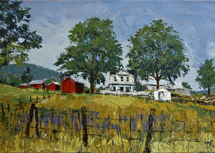 Landscape Greeting Card featuring the painting Virginia Highlands Farm by Peter Muzyka