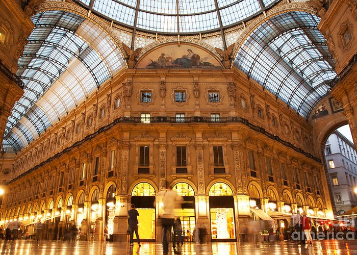 Milan Greeting Card featuring the photograph Vittorio Emanuele II Gallery Milan Italy by Michal Bednarek