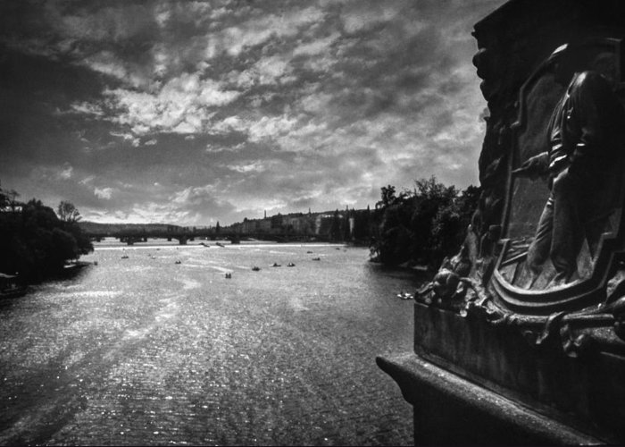 Prague Greeting Card featuring the photograph Vltava by Taylan Apukovska