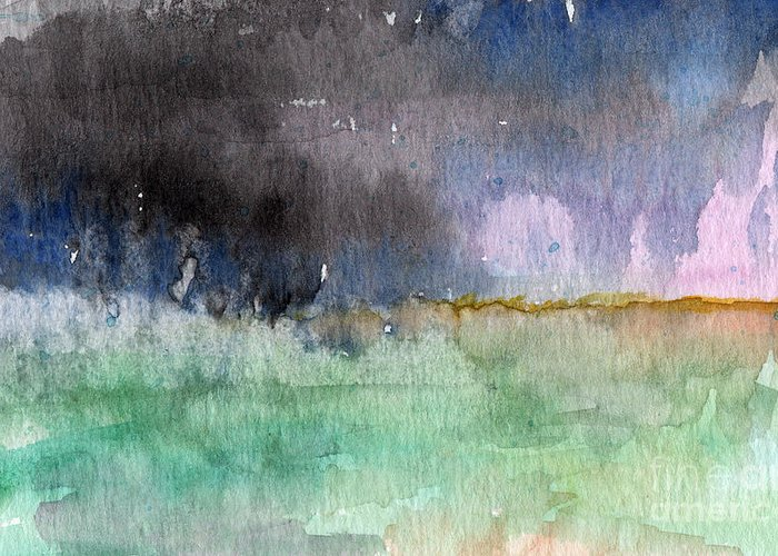 Abstract Landscape Greeting Card featuring the painting Voices Carry by Linda Woods