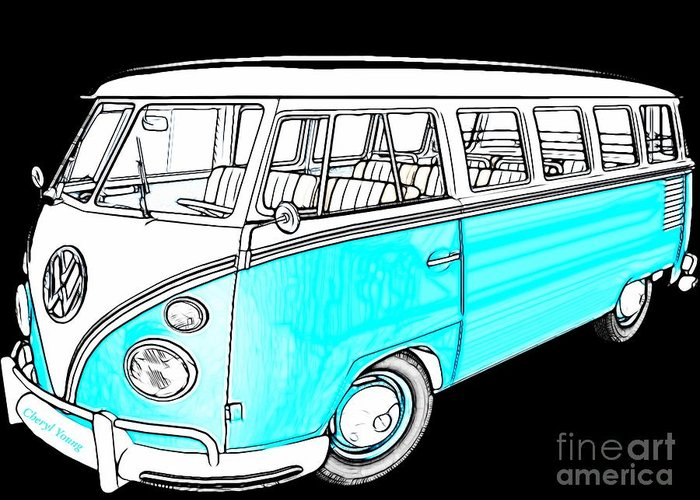 Volkswagen Bus Greeting Card featuring the photograph Volkswagen Turquoise by Cheryl Young