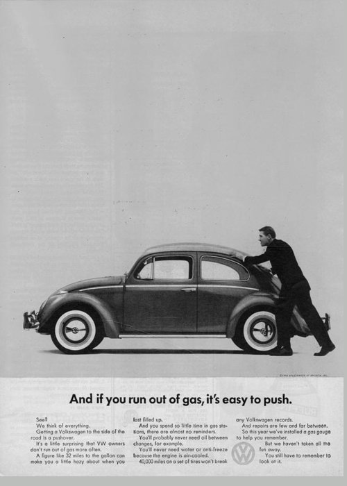 Vw Beetle Greeting Card featuring the digital art Vw Beetle Advert 1962 - And If You Run Out Of Gas It's Easy To Push by Georgia Fowler