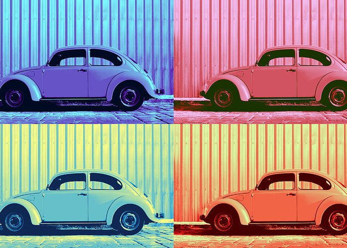 Classic Car Greeting Card featuring the photograph Vw Beetle Pop Art Quad by Laura Fasulo