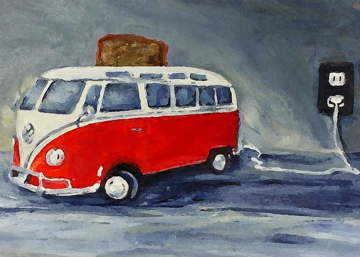 Vw Bus Toaster Volkswagen Volkswagon Red Car Auto Automobile Greeting Card featuring the painting Vw Bus Toaster by Sunny Avocado