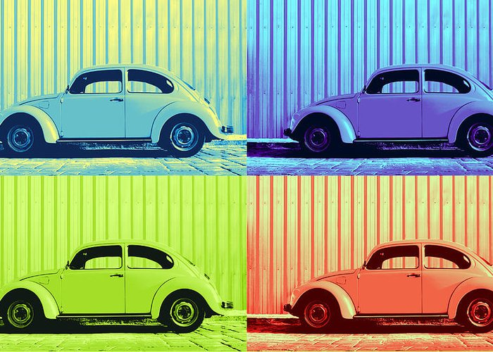 Classic Vw Beetle Car Pop Art Colors 4 Four Square Stripes Blue Purple Lime Green Orange Red Series Gallery Collage Fun Happy Bright Vibrant Pastels Color Colorful Colourful Uplifting Sunny Lively Metallic Sheet Metal Wall Lines Rivets Cobblestone Street Art Gift For Classic German Car Pop Art Lover Laura Fasulo Laurarama Samsung Galaxy Phone Case Iphone Cases Greeting Card featuring the photograph Vw Pop Summer by Laura Fasulo