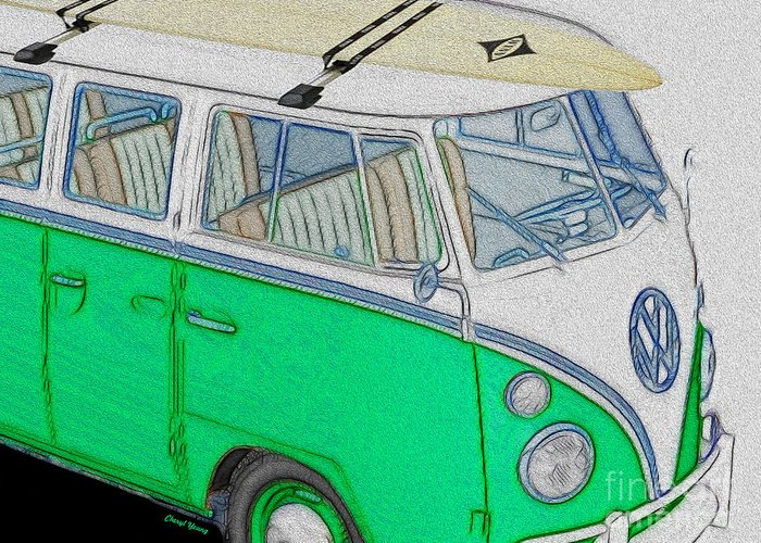 Volkswagen Bus Greeting Card featuring the photograph Vw Surf Bus by Cheryl Young