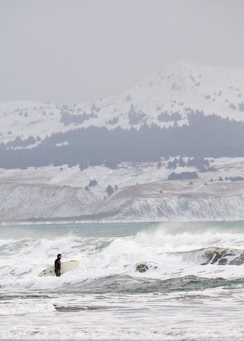 Alaska Greeting Card featuring the photograph Wading Into Winter Surf by Tim Grams