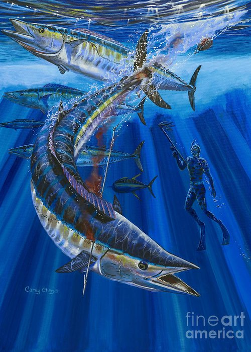 Wahoo Greeting Card featuring the painting Wahoo Spear by Carey Chen