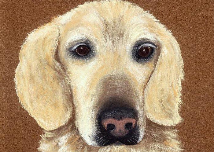 Dog Greeting Card featuring the painting Waiting by Anastasiya Malakhova