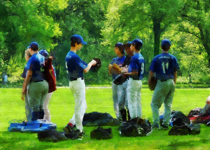 Baseball Greeting Card featuring the photograph Waiting To Go To Bat by Susan Savad