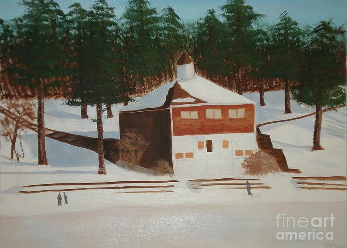 Winter Greeting Card featuring the painting Walden Pond by Janet C Stevens