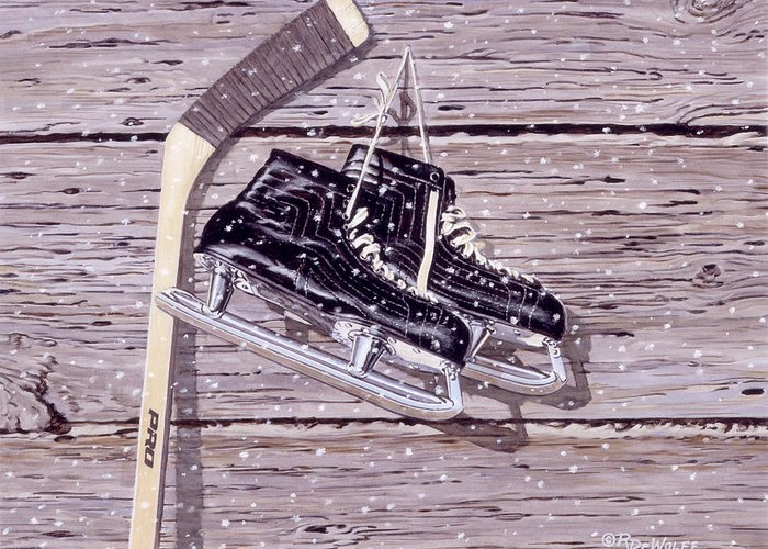 Hockey Greeting Card featuring the painting Wall Of Fame by Richard De Wolfe