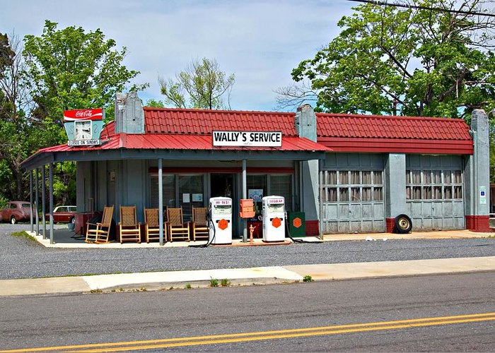 Wallys Service Station Greeting Card featuring the photograph Wallys Service Station Mt. Airy Nc by Bob Pardue
