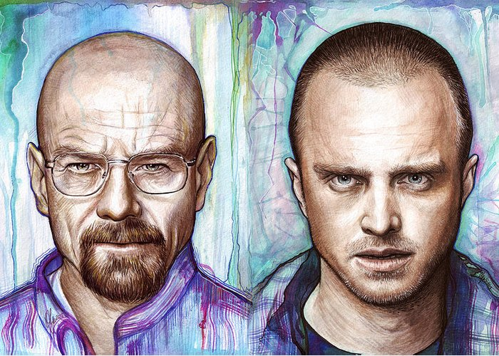 Breaking Bad Greeting Card featuring the painting Walter And Jesse - Breaking Bad by Olga Shvartsur
