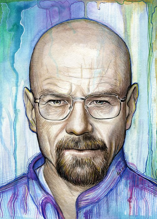 Breaking Bad Greeting Card featuring the painting Walter White - Breaking Bad by Olga Shvartsur