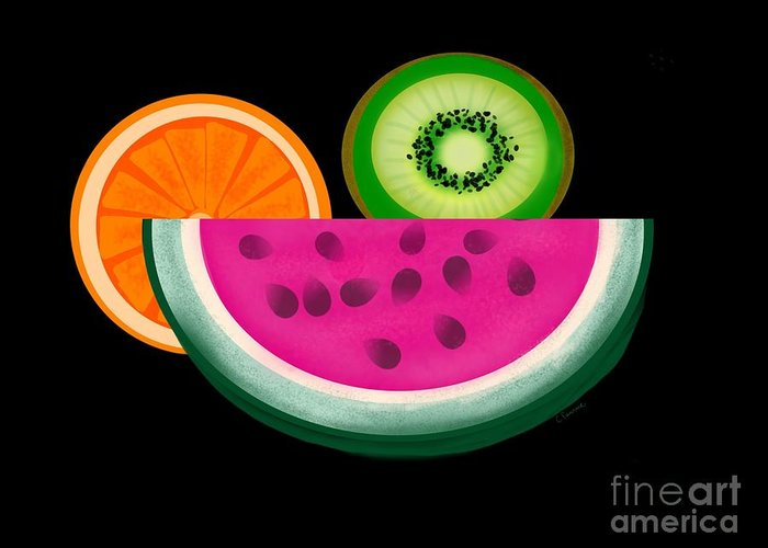 Fruit Greeting Card featuring the digital art Want A Slice? by Christine Fournier