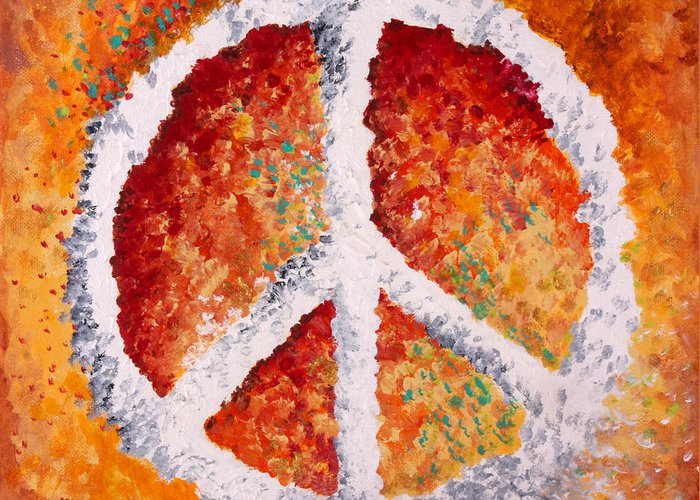 Peace Sign Greeting Card featuring the painting Warm Peace by Michelle Boudreaux