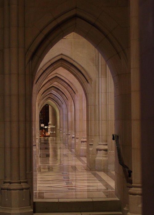 Alter Greeting Card featuring the photograph Washington National Cathedral - Washington Dc - 01136 by DC Photographer