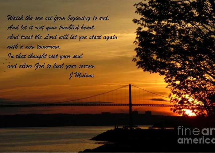 Watch The Sun Set Greeting Card featuring the photograph Watch The Sun Set by John Malone