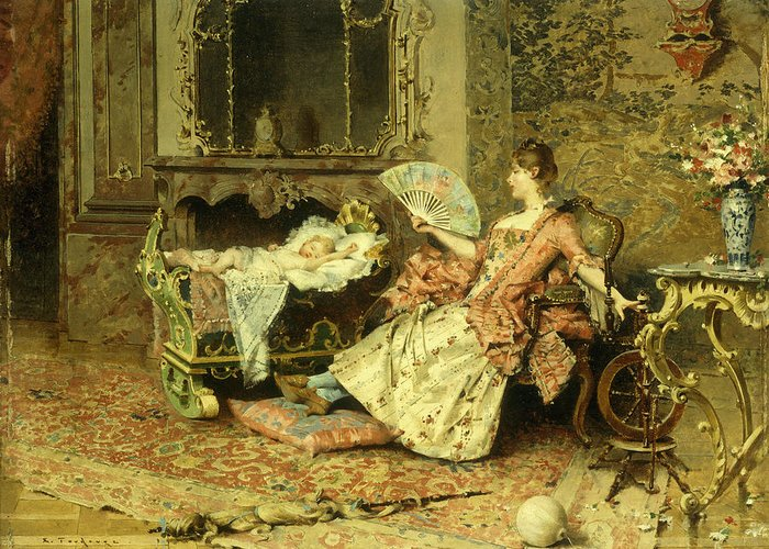 Watching; Baby; Mother; Child; Infant; Cot; Cradle; Maternal; Love; Fan; Seated; Grand; Interior; Grandiose; Rococo; Wealth; Relaxed; Relaxing; Ornate; Child; Children; 19th; Rest; Motherly Greeting Card featuring the painting Watching The Baby by Edouard Toudouze