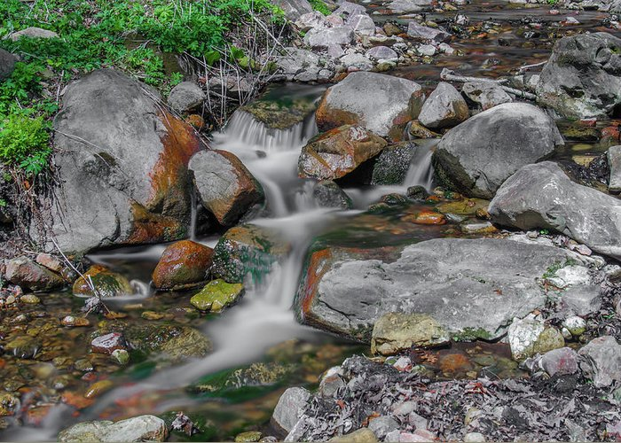 Waterfall Canvas Prints Greeting Card featuring the photograph Water Coloured Rocks by Jonah Anderson