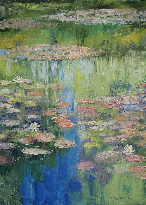 Water Greeting Card featuring the painting Water Lily Pond by Michael Creese
