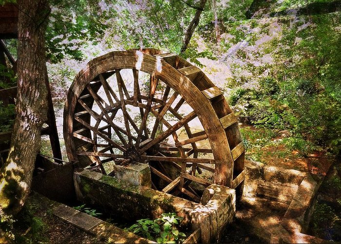 A Water Wheel At The Topaz Mill In The Missouri Ozarks. Greeting Card featuring the photograph Water Wheel by Marty Koch