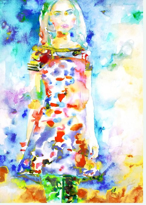 Girl Greeting Card featuring the painting Watercolor Woman.18 by Fabrizio Cassetta