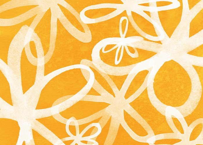 Large Abstract Floral Painting Greeting Card featuring the painting Waterflowers- Orange And White by Linda Woods
