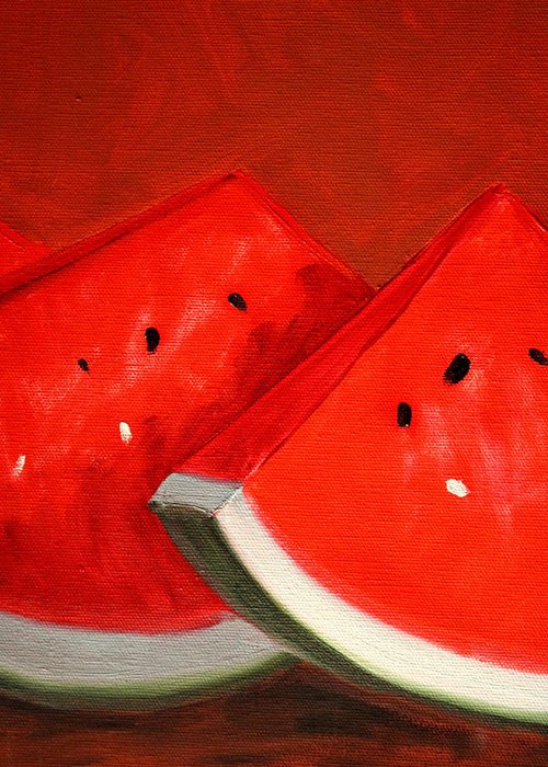 Watermelon Greeting Card featuring the painting Watermelon by Nancy Merkle