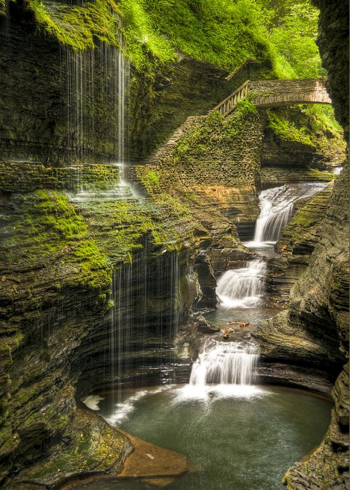 Watkins Glen Greeting Card featuring the photograph Watkins Glen Falls by Anthony Sacco