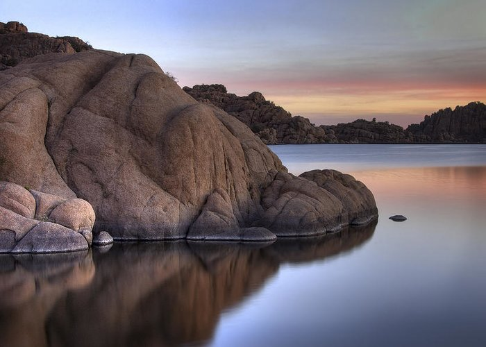 Sunrise Greeting Card featuring the photograph Watson Lake Arizona Colors by Dave Dilli