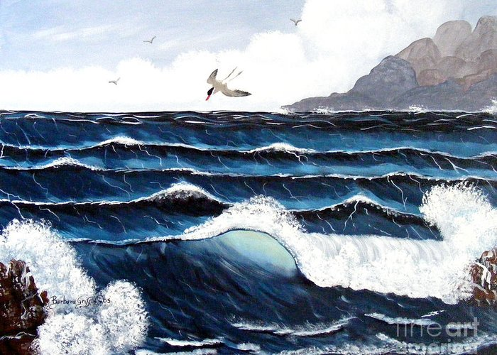 Wind Greeting Card featuring the painting Waves And Tern by Barbara Griffin