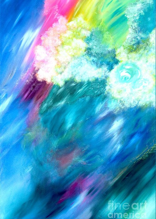 Acrylic Greeting Card featuring the painting Waves by Jason Stephen