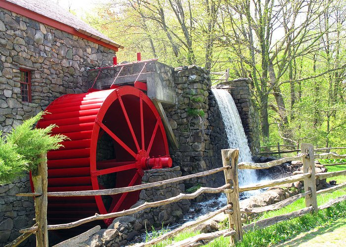 Wayside Inn Greeting Card featuring the photograph Wayside Inn Grist Mill by Barbara McDevitt