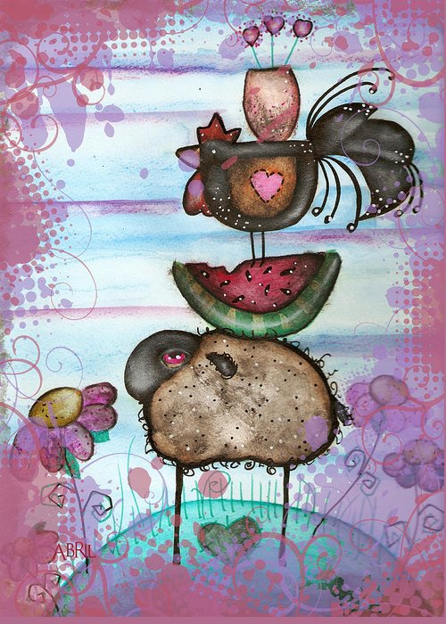 Folk Art. Farm Greeting Card featuring the painting we are all Friends here by Abril Andrade Griffith