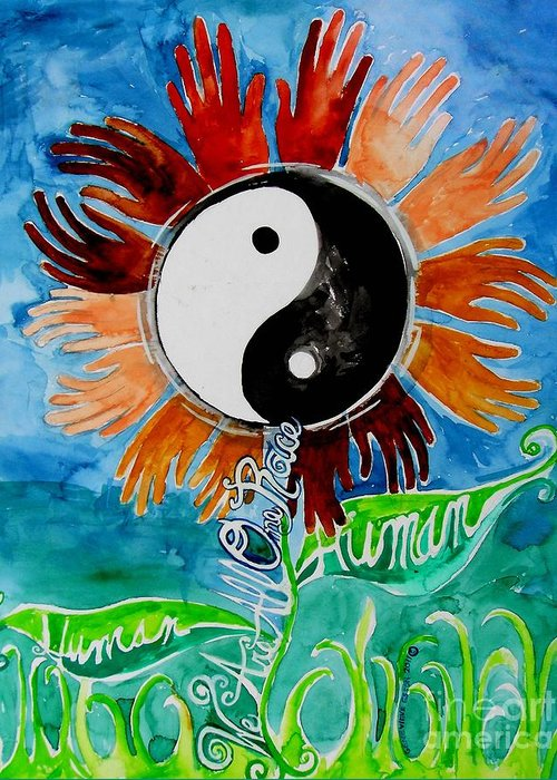 We Are All One Race Greeting Card featuring the painting We Are All One Race Human by Genevieve Esson