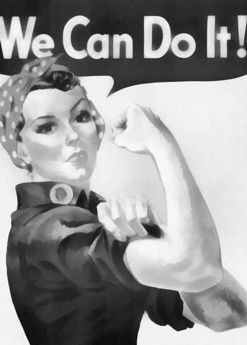 Vintage Rosie The Riveter Greeting Card featuring the mixed media We Can Do It by Dan Sproul